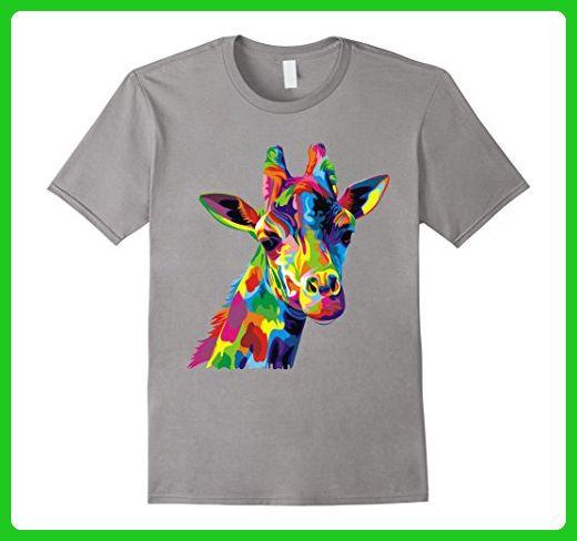 Mens Giraffe Shirts - Cute Giraffe Colorful Men, Women Shirt XL Slate - Animal shirts (*Amazon Partner-Link)