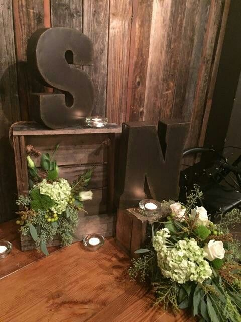Rustic engagement party table decor