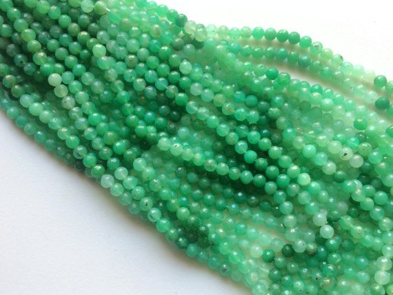 Chrysoprase Micro Faceted Round Balls Shaded by gemsforjewels