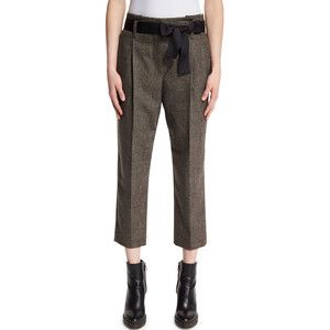 Brunello Cucinelli Plaid Belted Cropped Trousers
