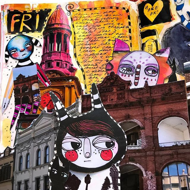 She stood in her own world filled with creatures and rainbow tinted buildings... where the weird was the norm and the imperfect where beautiful. Pushing my journal spreads further and further. #journal #midoritravelersnotebook #mixedmedia #inkypatreontribe #workingartist #collage #onmydesk #memorymonster #colour #whimsy #illustration