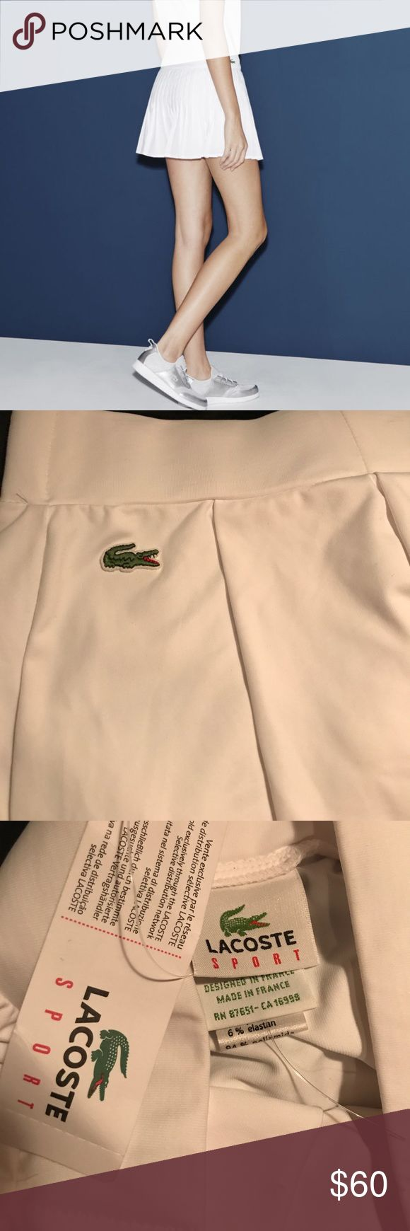 "LACOSTE SPORT TENNIS SKIRT NWT- white skirt polyamide and elastic size 4 ""DEVANLAY"" made in France Lacoste Skirts Mini"