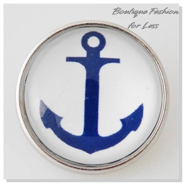 Snaps Charm Pop Chunk Glass Blue White Nautical Anchor Chunk Button Jewelry #Unbranded #ChunkSnapPopGinger