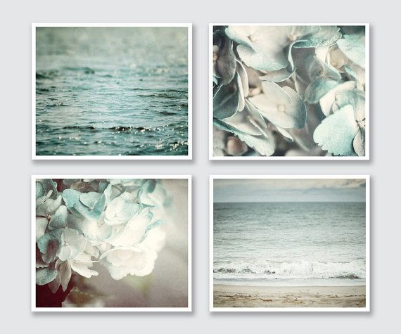 BATHROOM PRINT SET This listing features a curated set of four soft aqua prints perfect for the bathroom. Featuring two beach landscapes, a
