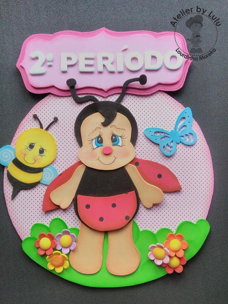 Placa Joaninha com abelhinha e borboleta
