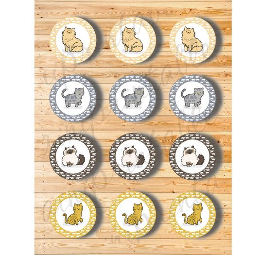 Two Digital Files  Cupcake Topper Cats Breeds by AiniPrintables