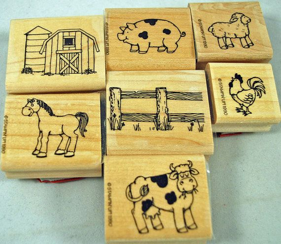 Stampin Up Rubber Stamps RETIRED and MINT Hard to Find Farm Friends  Rare Scrapbooking Cardmaking Collage Crafts Tags