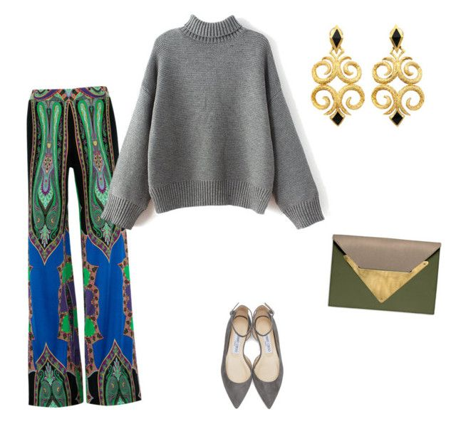 Print trousers + Knits by anna-samarina on Polyvore featuring polyvore, fashion, style, Etro, Jimmy Choo, Dareen Hakim and clothing
