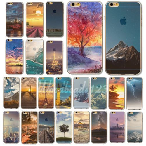 TPU Cover Case For iPone 4S 5S 5C 6 6S Plus Ultra-Thin Natural Landscape Painted | eBay