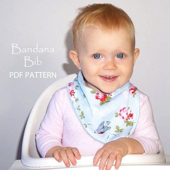 Bandana Bib sewing pattern, PDF baby sewing pattern, toddler sewing pattern, Instant Download, DROOL BIBS on Etsy, $8.77