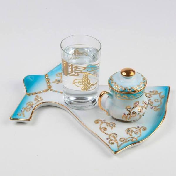 kütahya porselen altın yaldız işlemeli tuğralı türk kahve fincanı