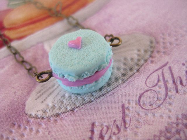 Mint Macaroon Bracelet _ 1/12 Dollhouse Scale Miniature Food _ Polymer Clay by MarisAlley on Etsy