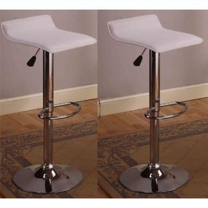 Roundhill Contemporary Chrome Air Lift Adjustable Swivel Stools with White Seat, Set of 2