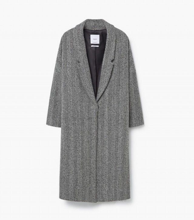 Mango Herringbone Pattern Wool Coat