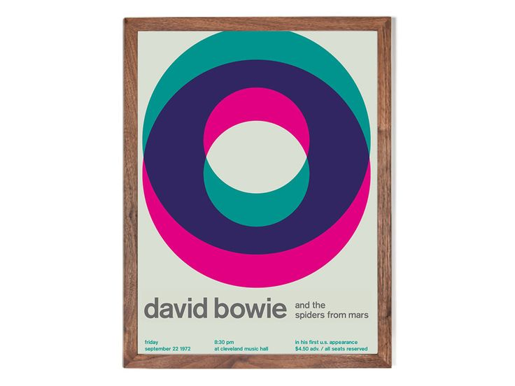 Swissted takes rock concert posters of the '70s, '80s, and '90s and remixes and reimagines them through a Swiss modernist lens.This streamline poster is inspired by a vintage David Bowie at Cleveland