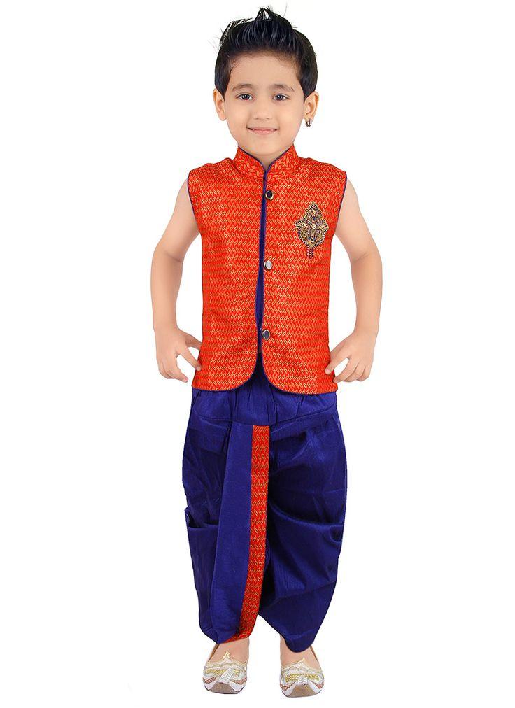 Dazzling Orange Dhoti Style Kids #Kurta #Pyjama