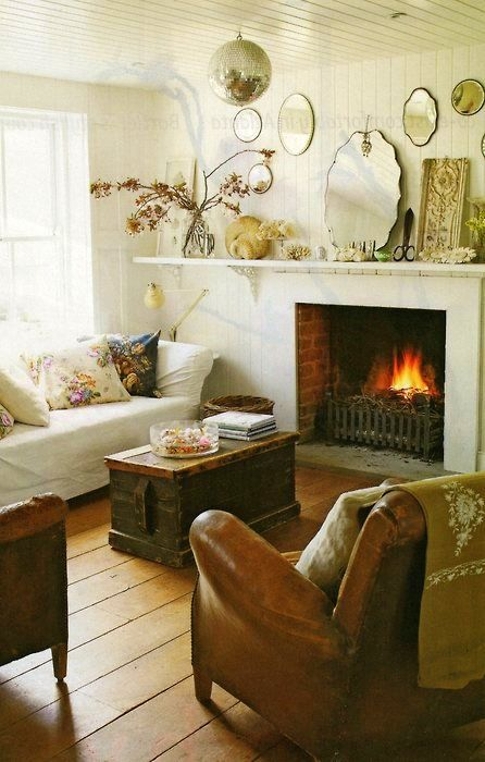 Cozy cottage fireplace. Wall length Mantel