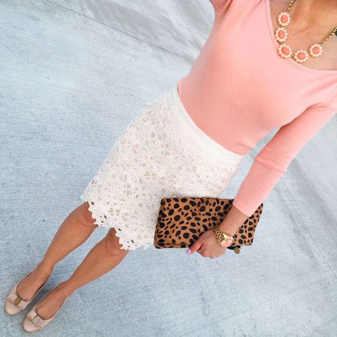 Loft lace crochet skirt, Clare V leopard clutch, J.Crew peach boatneck tee, Ferragamo Vara pumps