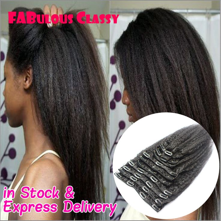 kinky straight clip in hair entensions human hair clip ins remy malaysian virgin italian yaki natural clip ins for black women
