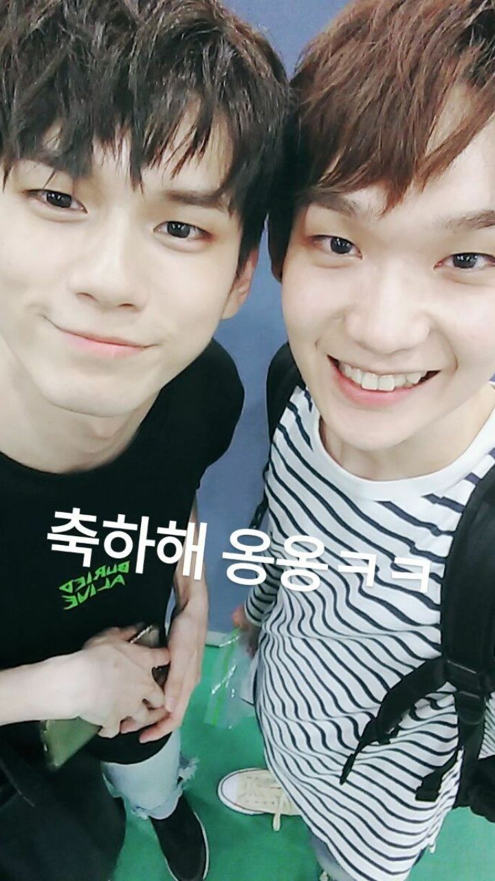 BOTH MY BABIES IN THE ONE PICTURE (AKA MY BIAS AND BIAS WRECKER)//Seongwoo and Kenta