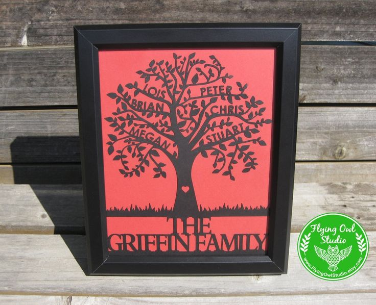 Handmade by FlyingOwlStudio on Etsy. This beautiful Family Tree Papercut is personalized with up to 6 names on the branches, with a last name or message at the bottom. It is a unique and meaningful piece of art for your own home, or a sentimental gift for a loved one. There are over 40 colours to choose from, to easily match any décor. This papercut comes unframed. The delicate cuts will look stunning in any simple frame of your choosing.