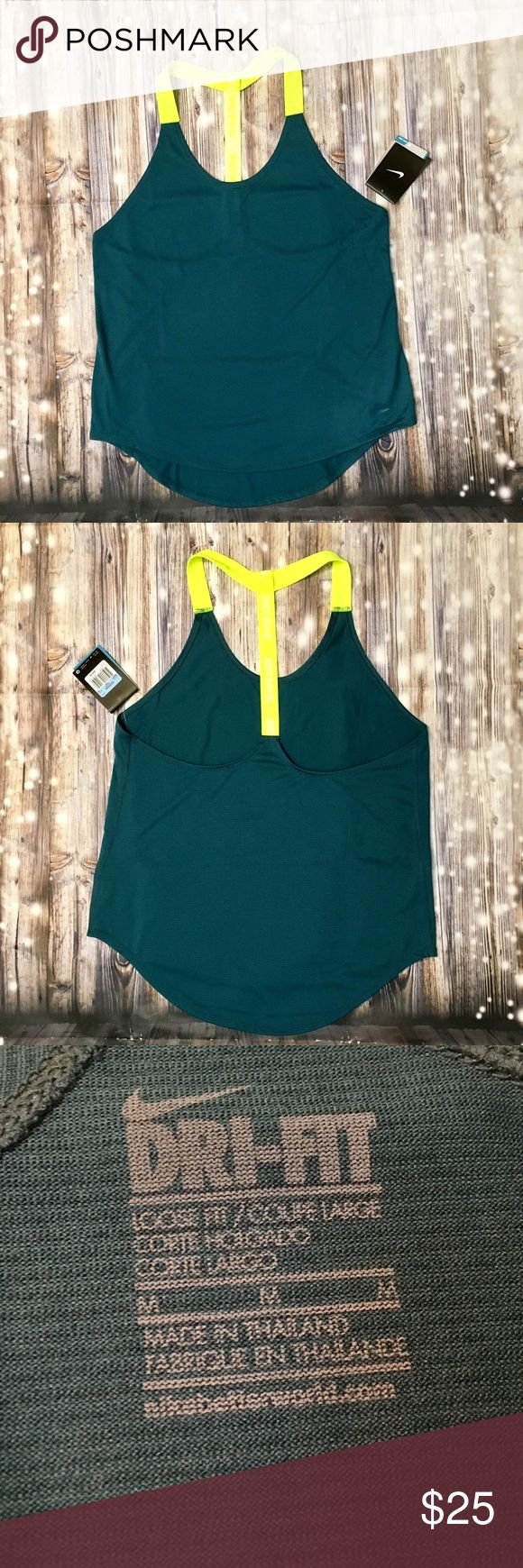 Nike dri-fit teal/neon yellow striped T-back tank Brand new with tags, dri-fit teal/neon yellow striped T-back workout tank top, super cute and comfortable, back strap says 'JUST DO IT' in white, such a unique beautiful style, great for working out or running errands. Nike Tops Tank Tops