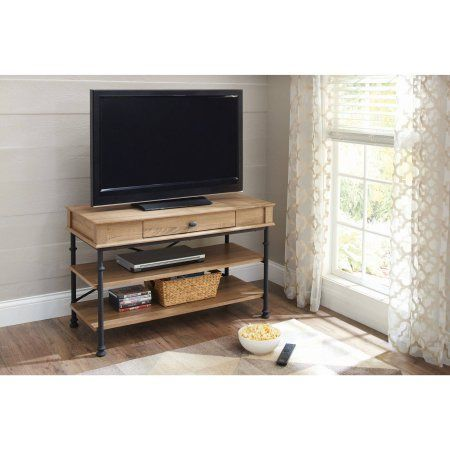 """Better Homes and Gardens River Crest TV Stand for TVs up to 42"""", Rustic Oak Finish - Walmart.com"""