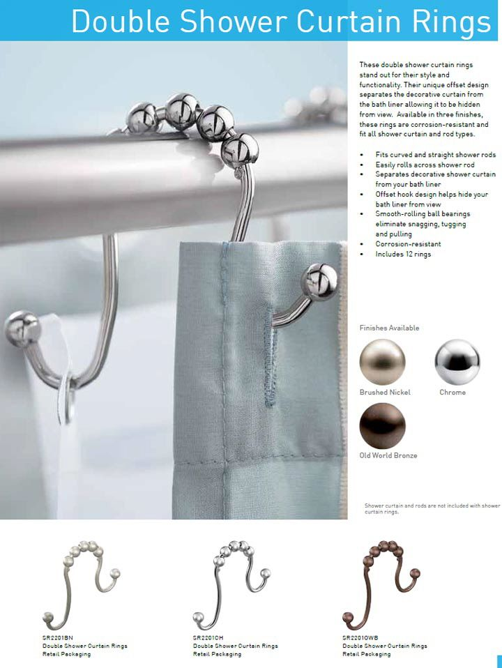 Double shower hooks - one for liner and one for curtain so you can take one down instead of both! eclectic-ware.com