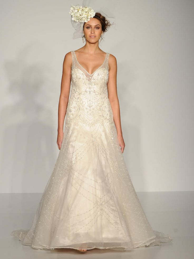 Maggie Sottero beaded overlay modified A-line wedding dress: