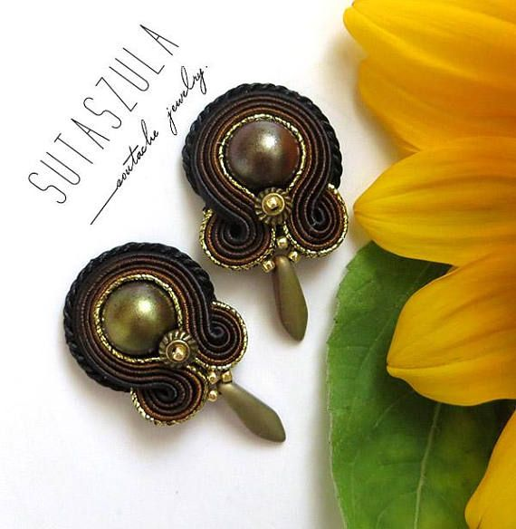 Brown olive old gold earrings soutache earrings sparkle small
