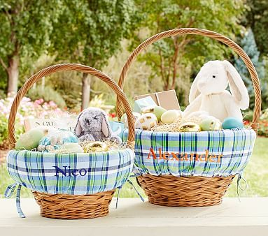Blue/White/Green Plaid Easter Basket Liners #pbkids