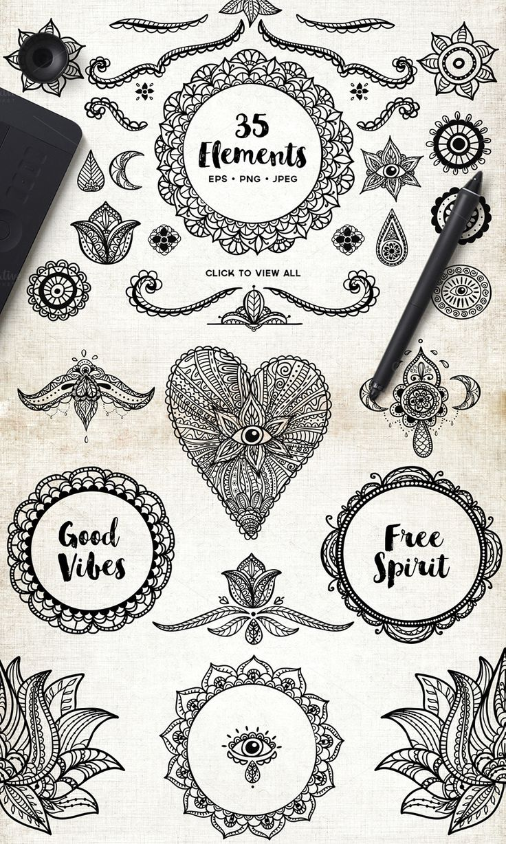 Pin lovi poe for tattoo pictures to pin on pinterest on pinterest - Mandala Multi Hand Sketched Vector Elements By Sonice On Creative Market Find This Pin
