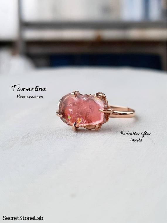Natural Tourmaline Rough Specimen Gemstone Ring,925 Sterling Silver Solid Ring With Pink Tourmaline Rough Anniversary Ring For Easter Sale