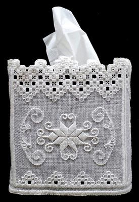 Hardanger tissue box cover designed by Rose Marie Schneider