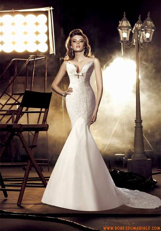 Simone Carvalli robe glamour sirène 2012 dos nu chapelle de train robe de mariée dentelle
