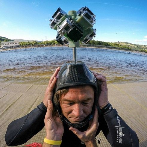 Oh the things you let us do. @kalanirobb is a champ for letting us rig him up with some spherical fun. #virtualreality #VR #GoProVR #GoPro #surf #surfsnowdonia #360video @surfsnowdonia #Hero4 #spherical by filmbot