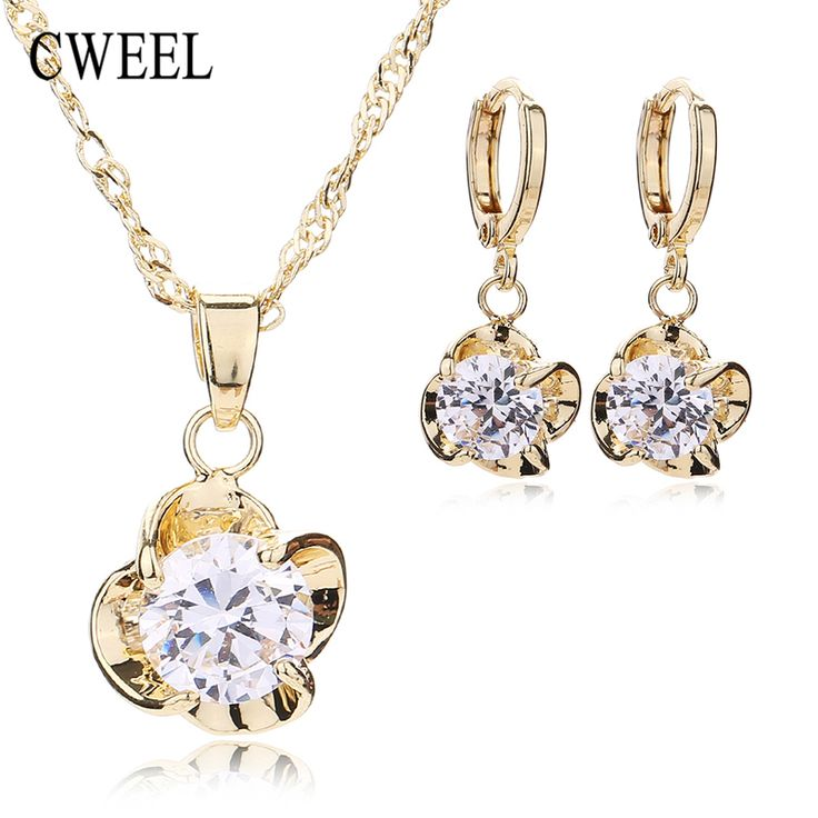 CWEEL Romantic Imitated Crystal Jewelry Sets Flower Pendant Copper Necklace Earrings For Women Bridal Wedding Dress Accessories