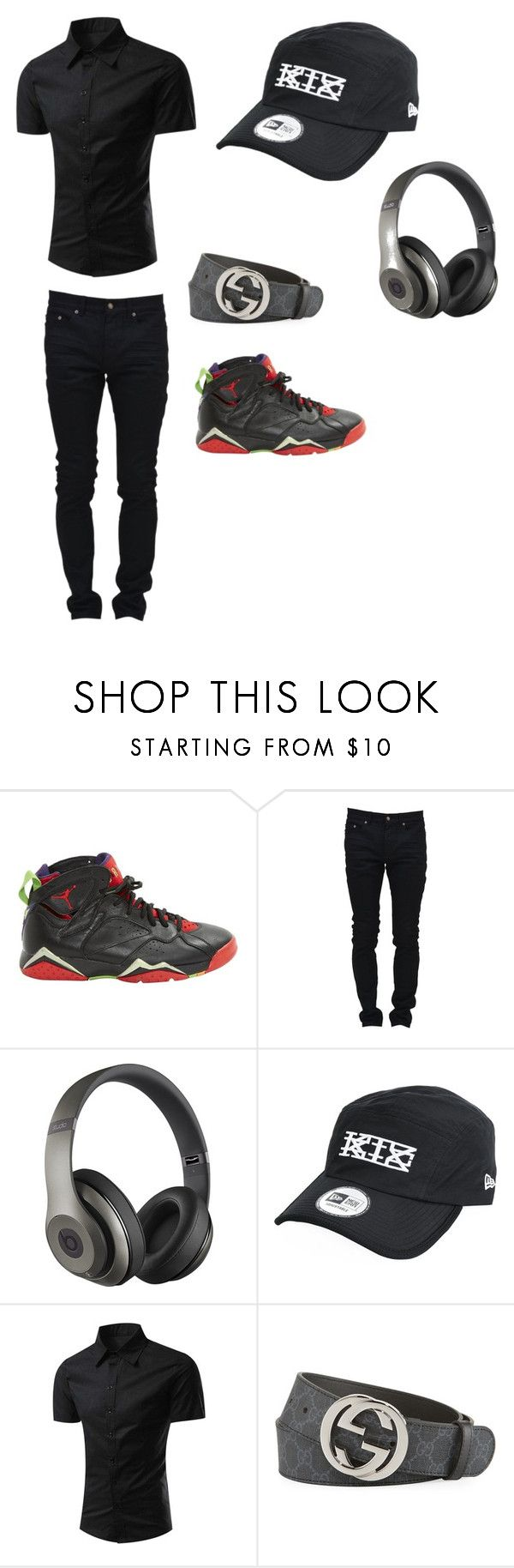 """""""Untitled #83"""" by blackraven103 on Polyvore featuring Jordan Brand, Yves Saint Laurent, Beats by Dr. Dre, KTZ, Gucci, men's fashion and menswear"""