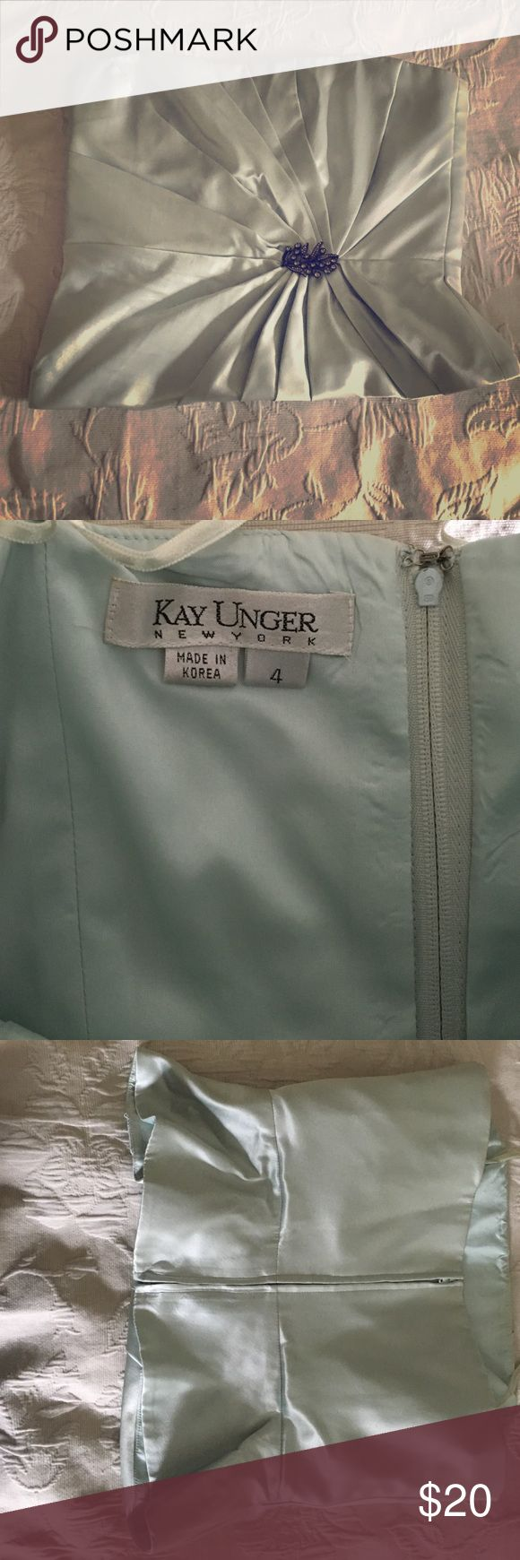 Elegant Kay Unger strapless satin top, Size 4, gorgeous light blue/Aqua/silver top with black dress pants or high waisted skirt, bodice fit, one small mark on back mid right side, EUC. Gorgeous top with jeweled brooch! Kay Unger Tops Tank Tops