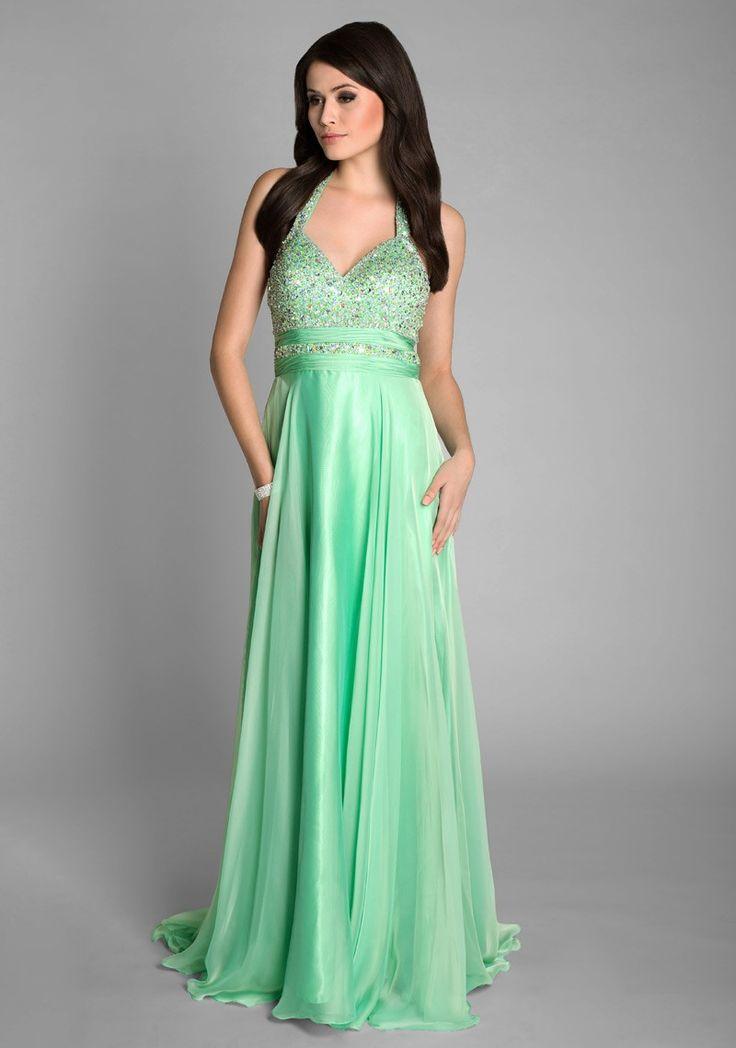 Langes Ballkleid aus Chiffon in Grün mit Strasssteinen #Abendkleid # ...