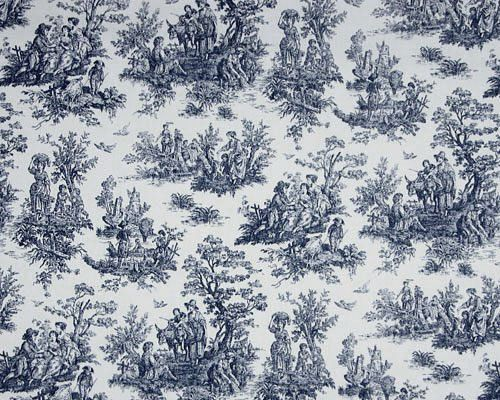 two panels of blue toile curtain panels. Each panel has a 3in. topper and 2 in. hem.