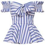 Caroline Constas Women's Artemis Striped Off Shoulder Bustier Top
