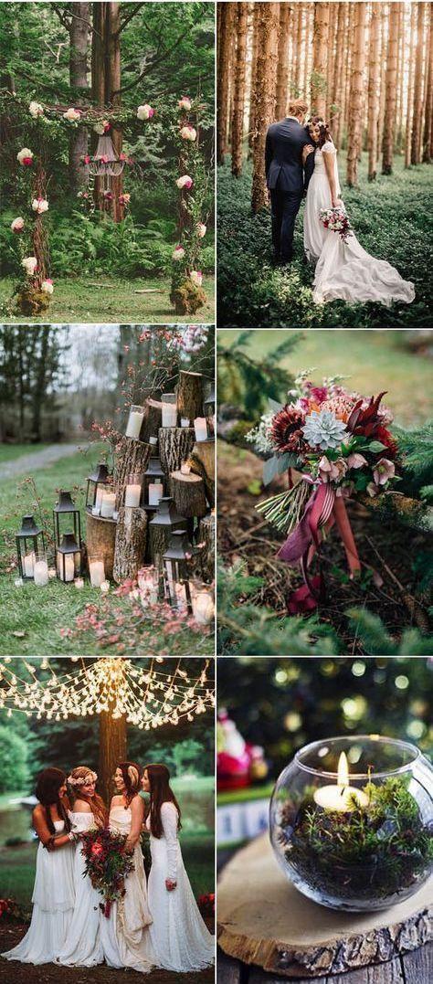 Temática boda en bosque encantado en tonos de ciruela y morado que contrastan con el verde de la naturaleza.