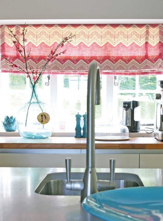 Elodie Pink - This hot pink bohemian printed cotton looks fabulous as blinds due to its horizontal repeat. A design and colour to uplift and bring cheer to any room #kitchen #blinds