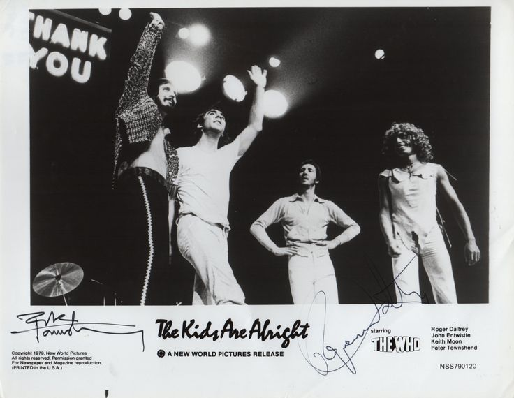 WHO THE: Signed 10 x 8 photograph by Roger Daltrey and Pete Townsend individually, the image depicting the four members of The Who in three quarter length poses on stage from the documentary film The Kids Are Alright (1979). Signed in black ink with their names alone to a clear area of the lower border.