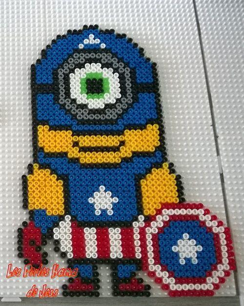 Captain America Minion Avengers hama perler beads by Jessica Bartelet - Les perles Hama de Jess - Pattern: http://www.pinterest.com/pin/374291419004106048/