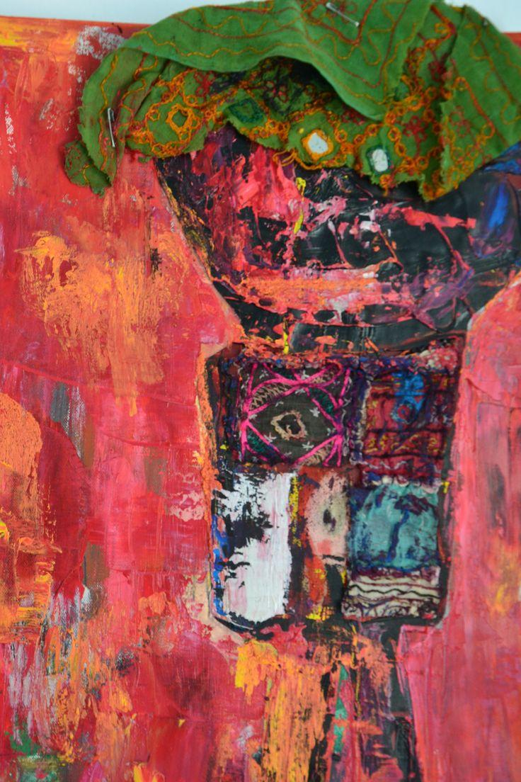 The Birdwatcher (detail) oil & textile 2015 Annukka Mikkola