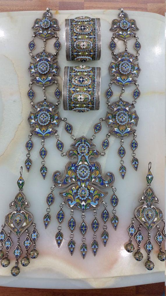 Uzbekistan Tribal Vintage Silver Enameld Set by turkmenarts