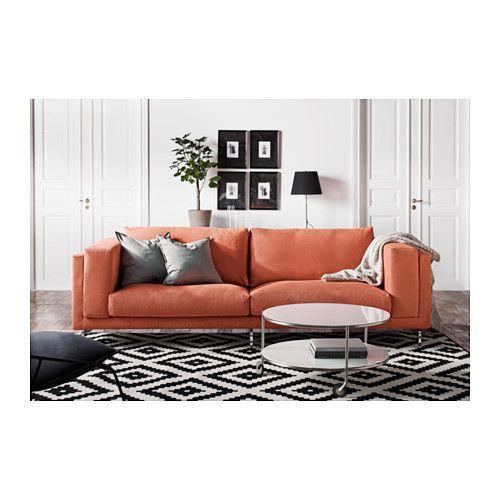 NOCKEBY Three-seat sofa - Risane orange, chrome-plated - IKEA