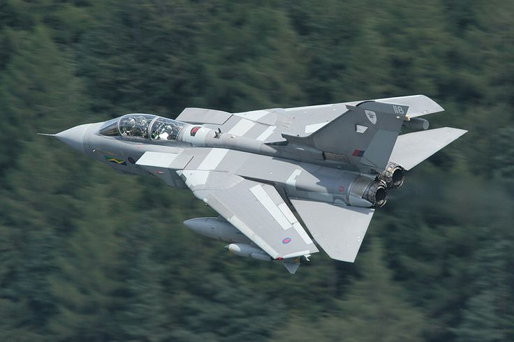 RAF XIII Squadron Panavia Tornado GR.4A (ZG705 '118') passing through Lake District in August 2006.